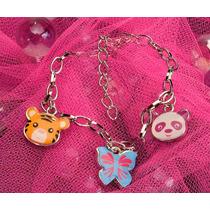 Brazalete Amuleto D/animal P/niño Metal Panda Tigre Mariposa
