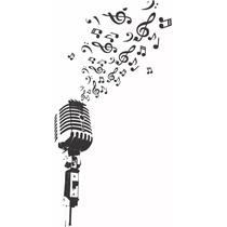 Adesivo Parede Microfone Notas Musicais Clave Sol Promoção