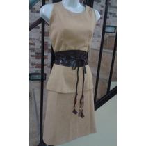 Bello Y Elegante Conjunto De Blusa Y Falda +cinturon