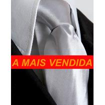 Gravata Prata Acetinada Semi Slim .