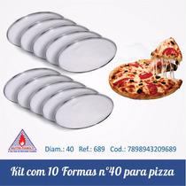 Kit Com 10 Formas Para Pizza De 40 Cm Em Alumínio