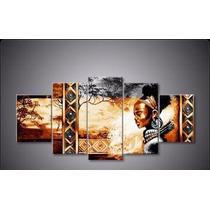 Cuadros Africanos Modernos Tripticos Texturados Pintados