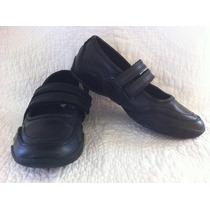 Teener Zapatos De Colegio De Cuero Negro 32