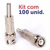 100 Conector Bnc Macho Parafuso C/ Mola - Pacote Com 100 Pçs