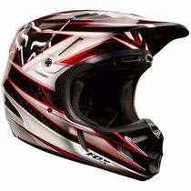 Capacete Fox V4 Race - Preto / Vermelho 58 - Mx Parts