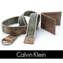 Kit Cinto Masculino Lona +carteira Calvin Klein Ck Original