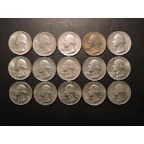 Lote 15 Monedas Distintas 25 Centavos Dolar Quarter Eeuu