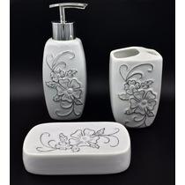 Kit Banheiro Porcelana 3pçs Conjunto Branco