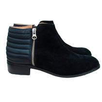 Botas Botinetas En Cuero Bajas Gamuza Mujer Zapatos Invierno