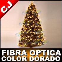 Arbol 180 Solo Fibra Optica Color Dorado Navidad Artificial