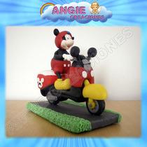 Mickey En Su Moto En Porcelana Fria Decoracion Adorno Torta