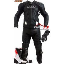 Macacão De Couro Motociclista X11 Speed+bota Texx+luva X11