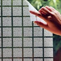 Adesivo Jateado Quadriculado Cristal Box Janela, Vidro, 1mt