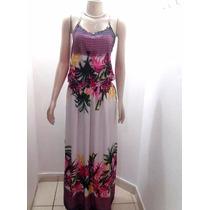Vestido Longo Em Viscose Estampa Floral Alça Barra Modas