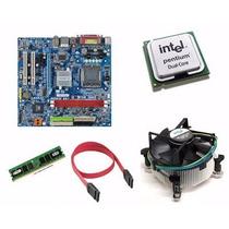 Kit Placa Mãe + Intel Pentium Processador + 2gb Ddr2+ Cooler