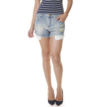 Shorts Jeans Multi Ponto Denim Bolsos Renda