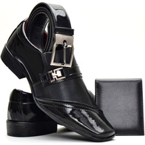 Sapato Social Masculino Envernizado Brilhoso+cinto+carteira