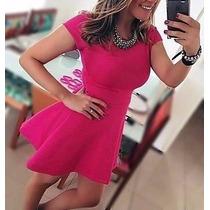 Vestido Rodado Curto Peplum Mod. Princesa Godê Casual Chique
