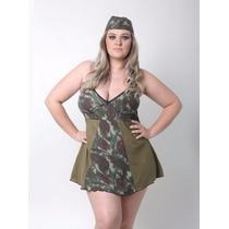 Fantasia Militar Lingerie, Feminina, Camuflada, Plus Size
