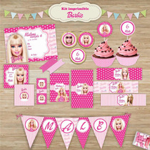 Kit Imprimible Candy Bar Barbie Con Textos Editables!!