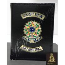 Carteira Em Couro Porta Funcional Justiça Juiz Arbitral