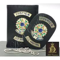 Carteira Porta Funcional Couro Justiça Juiz Arbitral 2 Pçs.