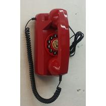 Telefone Antigo Tijolinho De Parede Vermelho Retrô Vintage