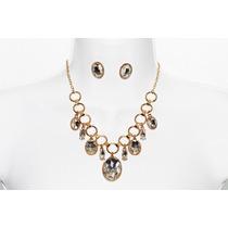 Collar Moda Aros Dorados, Cristales Biselados Y Aretes
