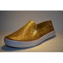 Zapatos Corte Vans Escarcha Oro Para Damas