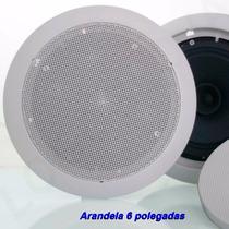 Caixa Acústica De Teto Som Ambiente Arandela Embutir 6p