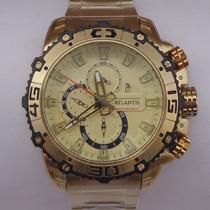 Relógio Masculino Dourado Luxo Atlantis A3270 Modelo Festina