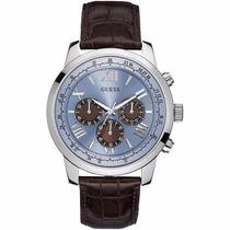 Reloj Guess Mod. W0380g6 Plata Fondo Azul Correa Cafe Hombre