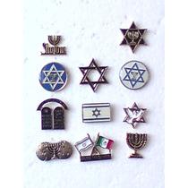 Coleccion De 11 Pins Judios, Estrella De David, Menorah