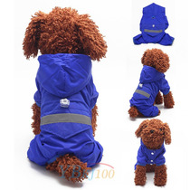 Capa Chuva Capuz Roupas Acessórios Cães Azul Tam M