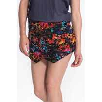 Shorts Saia Assimétrico Feminino Marca My Place Estampado
