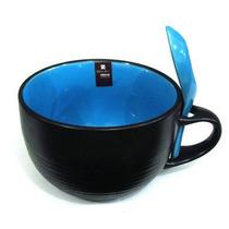 Kit 4x Caneca Sopa Com Colher - Bowl P/ Refeições - Azul