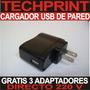 Cargador Usb Universal De Pared 220v Mp3 Mp4 Mp5 Accesorios