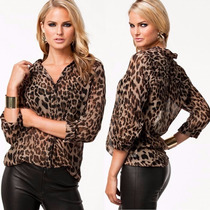Blusa Casual Feminina (estampa Leopardo) - Tam M ( 38 A 40)