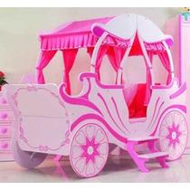Cama Tipo Carreta Color Rosa Para Niña