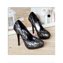 Zapatos Pumps Zapatillas Fiesta Boda Encaje Negro