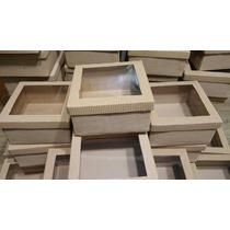 Cajitas De Carton Microcorrugado Con Visor 14x14x3 X10 Unida