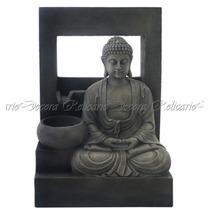 Fonte De Água C/ Escultura Do Buda Em Resina Lindos Detalhes