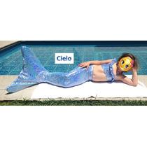 Cola De Sirena Telas Holograma Kit: Cola, Monoaleta Y Bikini