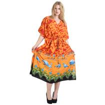 La Leela Cloudflamingo Likre Vestido Kimono Kaftan Maxi Nara