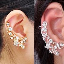 Retro Cristal Borboleta Flor Ear Cuff Brinco Envoltório Clip