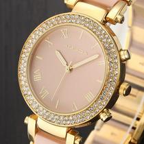 Relógio Luxo Feminino Fashion Dourado Amuda
