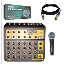 Consola Mezcladora Skp 10 Canales Salida Digital + Microfono