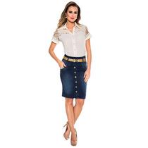 Saia Botões Frontal Via Tolentino Azul Jeans Sem Juros