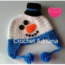Gorro Muñeco De Nieve, Reno Y Pavo Tejido Crochet Bebés