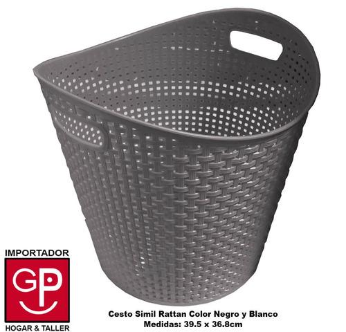 Cesto plastico simil rattan 39 5 x 36 8 cm blanco y negro for Muebles rattan montevideo